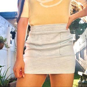 Vintage Light Blue A-Line Mini Pocket Skirt